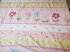 POTTERY BARN KIDS FULL  QUEEN EMBROIDERED FLORAL FLOWERS QUILT COMFORTER
