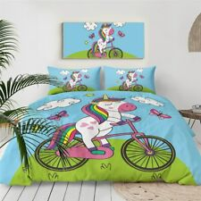 Cartoon Bike Unicorn Girly Double Single Quilt Duvet Pillow Case Cover Bed Set