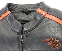 womens harley davidson leather jacket M black orange bar zip liner armor pockets