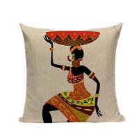 "Keita African Tribal Ethnic Ladies Cushion Cover Portrait Print 18""x18"""