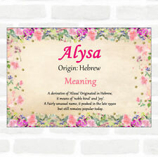 Alysa Name Meaning Floral Certificate