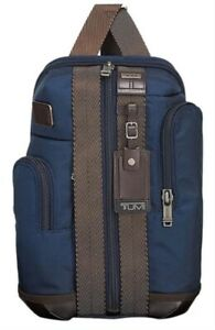 NWT Tumi Higgins Sling Bag Crossbody Backpack Navy Blue with Leather Trim