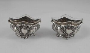 Rare Pair Gewürznäpfe Rococo Style Glass Inserts France 950er Sterling Silver