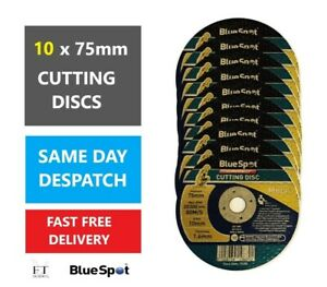"""10x BlueSpot New METAL Cutting / Slitting Discs 75mm (3""""/Inch) for Angle Grinder"""