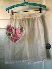 Vintage Princess Apron Pale Pink Heart Pocket Sheer Ties in Back 1950's with Tag