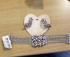 Brighton Love Daisy Pink Flower Silver Bracelet Multi Strand & matchin Earrings