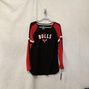 Chicago Bulls Fanatics Mens T-Shirt Black Red Color Block Scoop Stretch XL New