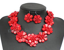 Red coral flower necklace with earrings set