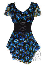 Sexy Gothic SWEETHEART Corset VNeck Blue Dream Plus Size Top 3X -MSRP $60