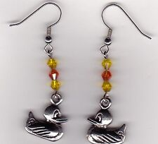 Rubber Duck Earrings-Tibetan Silver Charm with Yellow & Orange Swarovski Beads