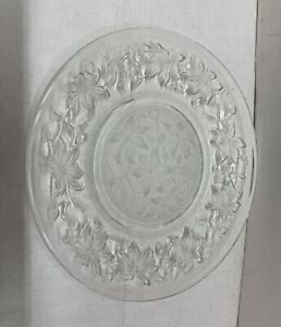 Vintage Round Crystal Clear Plate With Flower design
