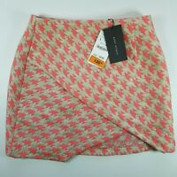 New Zara Womens Mini Skirt Pink Houndstooth Pattern Size L Large NWT BNWT