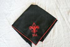 BSA BOY SCOUT OF AMERICA Neckerchief Black Red BSA Emblem Embroidered Mint