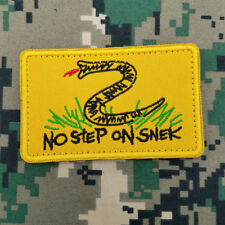 No Step on Snek Flag Militray Tactical Swat Morale Hook Patch Embroidered Yellow