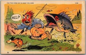 1940s RAY WALTERS Comic Postcard Fisherman Dog Curteich Linen FISH COMICS C-82