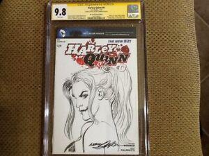 Harley Quinn #0 Blank Cover ~ Neil Adams Signed & Sketch ~ CGC 9.8 ~
