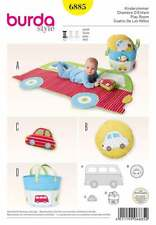 Burda 6885 Baby Play Room Accessories Mat, Tote, Toy, Pillow, Bus, Car Pattern