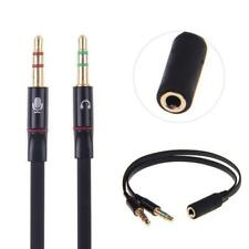 3.5mm Stereo Audio 2 Male to Female Headset Mic Y Splitter Adapter Jack - X2A9