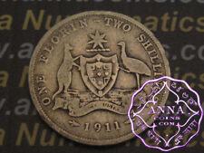 Australia 1911 George V Florin X1, Average Circulated Condition