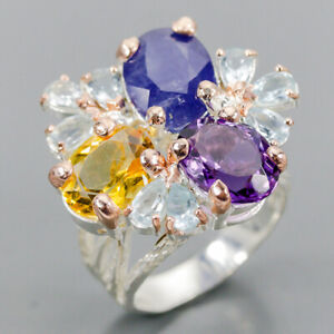Handmade Blue Sapphire Ring Silver 925 Sterling  Size 7.5 /R157282
