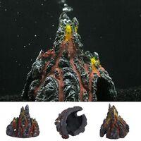 Volcano Shape & Air Bubble Stone Oxygen Pump Aquarium Fish Tank Ornament Decor