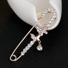 White Rhinestone Rose Gold Plated Butterfly Wedding Party Jewelry Brooch Pin