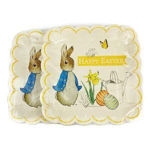 Lot Of 2 Beatrix Potter Peter Rabbit Happy Easter Square Paper Plates 12 Piece