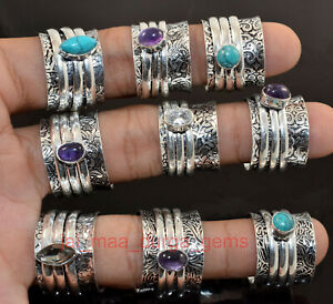 New PCs Lot Spinner Mix Stone 925 Silver Plated spinner Meditation Challa Ring O