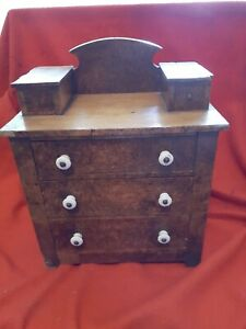 Antique Salesman Sample Handmade Dresser with Porcelain Knobs
