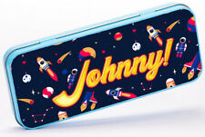 Personalised Any Name Space Pencil Case Tin Boys School Kids Stationary 2