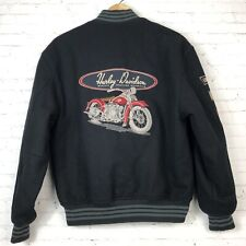 Harley Davidson Embroidered Motorcycle Wool Letterman Bomber Jacket Patches XS