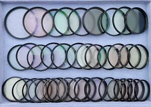 Used Bulk Lot 39x Assorted Sizes 52,55,58mm Camera UV Filter Lens Protector BL93