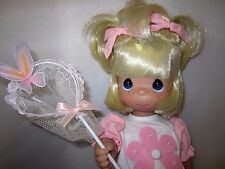 """Precious Moments 13"""" Doll Butterfly Kisses to You Blonde Girl with Net Pink Bows"""