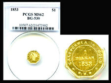1853 $1 BG-530 MS62 PCGS-RARE-ONLY 16 IN HIGHER GRADE-TERRITORIAL GOLD DOLLAR