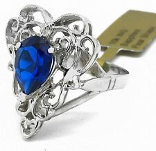 BLUE SAPPHIRE 3.47 Cts FILIGREE RING 10K WHITE GOLD *Free s/h & New With Tag *