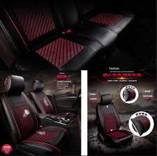 Full Set 5 Seater Car Seat Cover Black+Red Pu Leather Breathable All Surrounded (Fits: 2010 Charger)