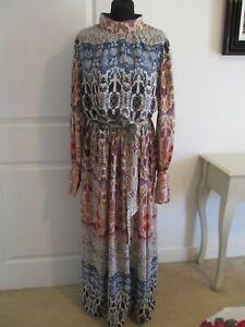 LINDEX INDIAN BLOCK PRINT PATCHWORK FLORAL MAXI DRESS Size M SCANDI BOHO HIPPIE-