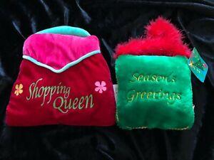 "LOT OF 2 Super Soft Embellished Mini Handbag Pillows S/2 (6~9"") w Emb & Feathers"