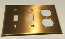 66543 3 Gang 2 Toggle Duplex Receptacle Satin Bronze Combination Wall Plate