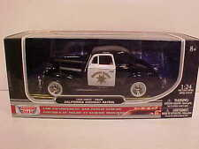 1939 Chevy Coupe CA Highway Patrol Die-cast Car 1:24 Motormax 8 inch Police