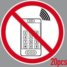 20 ADESIVO 15cm DIVIETO Cellulare Mobile Telefono VIETATO