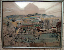 Framed with Glass Aquarell Watercolor Painting of France