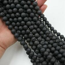8MM Natural Black Lava Stone, Volcanic Lava Rock Round Beads Loose Bead 1 Strand