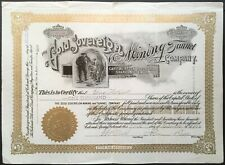 GOLD SOVEREIGN MINING & TUNNEL COMPANY Stock 1903. Cripple Creek, CO. Gold Hill
