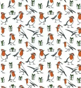Robin Red Breast Christmas Craft Bunting Patchwork Polycotton Dress Fabric