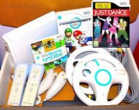 Wii Console Nintendo White 2 Player Remotes Mario Kart, Custom Bundle