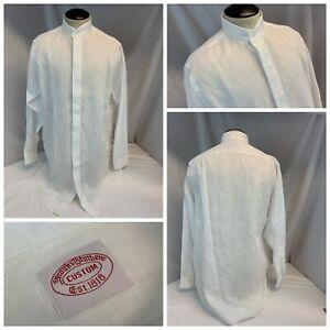 Brooks Brothers Custom Tab Collar Shirt 15 35 White All Linen NWOT YGI RE2284