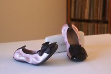 Naturino 28 Pink Leather Black Bow Ballet Flats EUR Size 28 US Girls Kid's 11