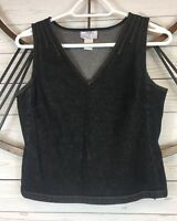 Ann Taylor Loft 4 Denim Top Sleeveless Tank Black Left Back Hidden Zip Cropped