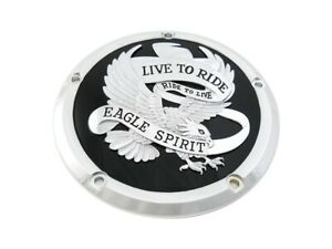 Chrome & Black Eagle Live to Ride Clutch Derby Cover for Touring 16-19 FLHT FLHR